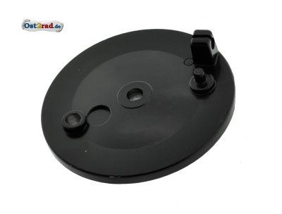 Bremsschild hinten - schwarz lackiert -  ohne Loch f. Bremskontakt - mit Bolzen - SR50, SR80