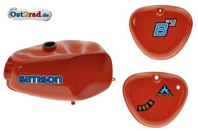 Büffeltank Set mit Seitendeckel für Simson S50 S51, Rot, innen versiegelt