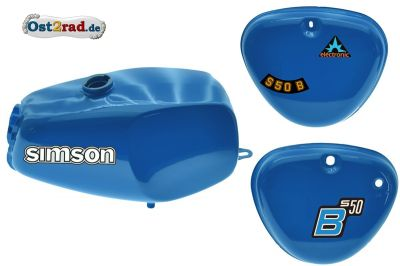 Büffeltank Set mit Seitendeckel für Simson S50 N S51, MedionBlue, innen versiegelt