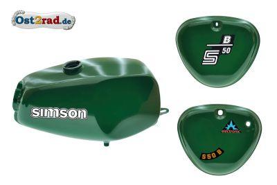 Büffeltank Set mit Seitendeckel für Simson S50 S51, Billard-Grün, innen versiegelt