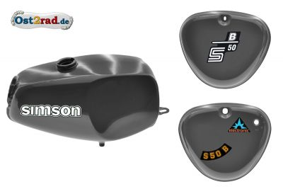 Büffeltank Set mit Seitendeckel für Simson S50 S51, DarkGray, innen versiegelt