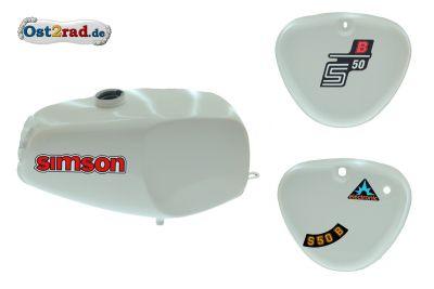 Büffeltank Set mit Seitendeckel für Simson S50 S51, WEIß, innen versiegelt