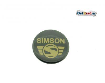 Blechbutton rund 25mm schwarz Simson Logo