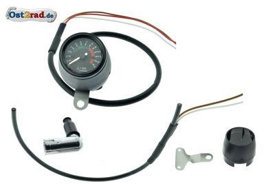 Elektronischer Drehzahlmesser 60mm für Simson S50 S51 mit 12V Vape SCHWARZ