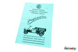 Ersatzteileliste Cezeta Dreirad Typ CZ 505 175 ccm in 4 Sprachen