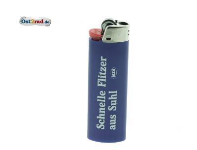 Feuerzeug blau Aufdruck Schnelle Flitzer aus Suhl