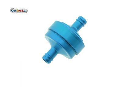FILU Benzinfilter - Alu blau eloxiert für Benzinschlauch 7x10,5 mm