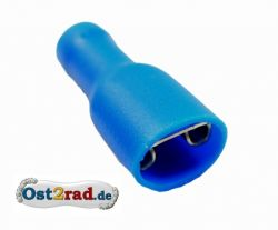Spade connector 6.3 mm insulated, blue