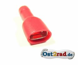 Spade connector 6.3 mm isolated, red