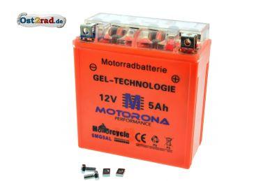 Gel Batterie für AWO Sport 12V 5Ah, Akku wartungsfrei, Originalmaß