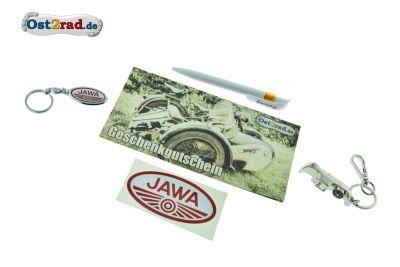 Geschenkset JAWA Gutschein Kugelschreiber Schlüsselanhänger Aufkleber