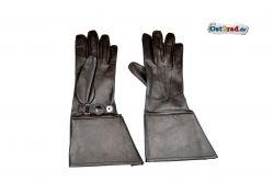 Oldtimer Motorrad Handschuhe schwarz Leder, lang
