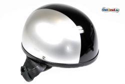 Helm Oldtimer Halbschale silber schwarz