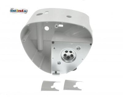 Gehäusemittelteil - Weiß-Grau - mit Abdeckplatte und 2x Lochabdeckungen