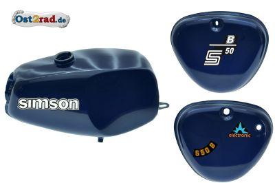 Büffeltank Set mit Seitendeckel für Simson S50 S51, Perlblau Metallic, innen versiegelt
