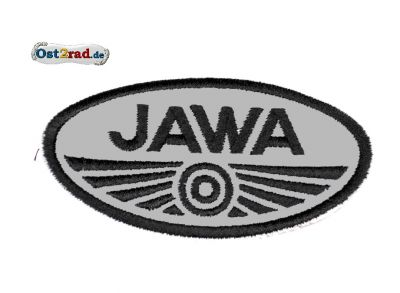 Aufnäher Jawa Logo oval klein grau/schwarz