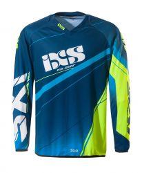 Kinder-Cross-Shirt IXS Raceway blau-fluo gelb