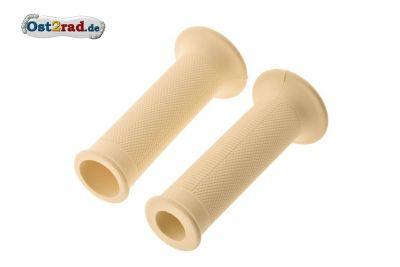 Lenker Griffgummi Paar für MZ ES 125 150 175 250 300, Rändelprofil elfenbein 1.Qualität