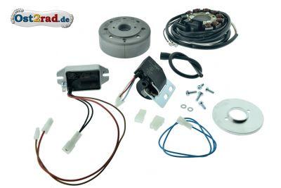 Lichtmagnetzündanlage 12V 100W Gleichstrom mit integrierter vollelektronischer Zündung für Schwalbe KR51/1 Spatz Star