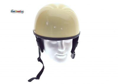 Helm Oldtimer Halbschale elfenbein passend für MZ AWO Simson Jawa - Leder schwarz