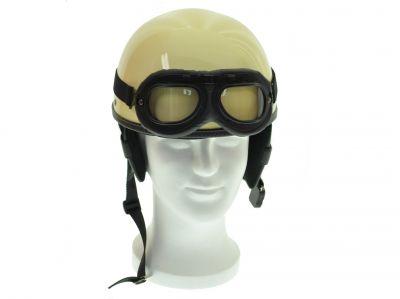 Oldtimerhelm mit Brille passend für MZ JAWA SIMSON AWO Halbschale - Leder schwarz