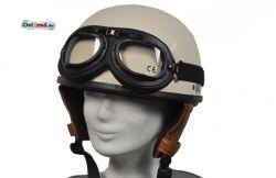 Oldtimerhelm mit Brille passend für MZ JAWA SIMSON AWO Halbschale - Leder braun