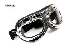 Brille Oldtimer Motorrad Motorradbrille Pilotenbrille silber