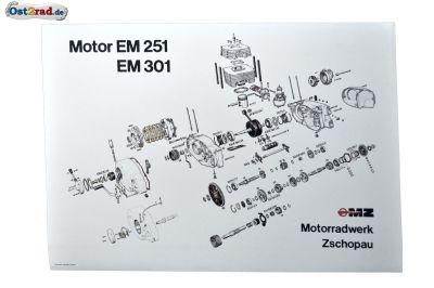 Poster, Plakat Explosionszeichnung MZ - Motor ETZ 250 251 301