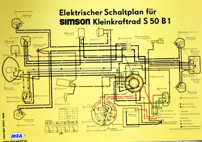 Poster Schaltplan SIMSON S50 B1