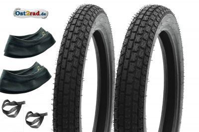 Jeu de pneus RIESA 2,75-3,00x18 Reinforced, Klassik3, MZ ES ETS TS 125 150