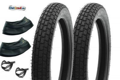 Jeu de 2 pneus RIESA 2x 3,00-18 Reinforced Klassik3 MZ ES125 ES150