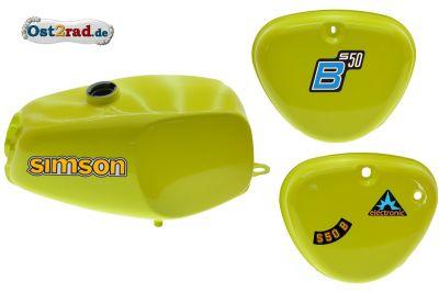 2.Wahl Büffeltank Set mit Deckel für Simson S50 S51, Schwefelgelb, innen versiegelt