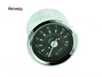 Drehzahlmesser mit Beleuchtung und Masseanschluss - mit Chromring - 12V - ø 60 mm