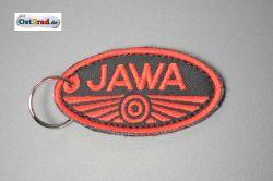 Schlüsselanhänger, Stoff, JAWA, schwarz - rot