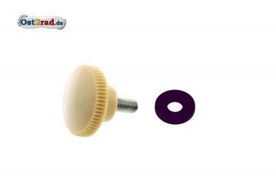 SET Rändelschraube M6, elfenbein, mit Gummischeibe für Verkleidungsbefestigung