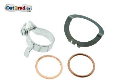 SET Sicherungsschelle und Dichtungen Krümmermutter SIMSON 28mm