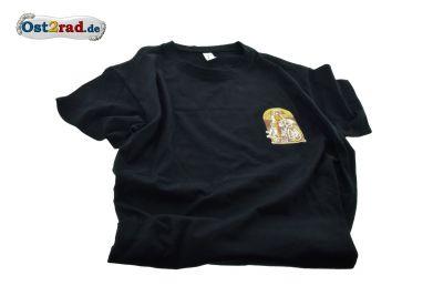 """T-Shirt noir motif """" jeune femme à moto """"  Chateau de Zschopau"""