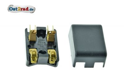 Fuse box 2-fold for round fuses, contact for plugging in