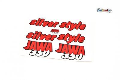 Aufklebersatz silver style JAWA 640 in rot