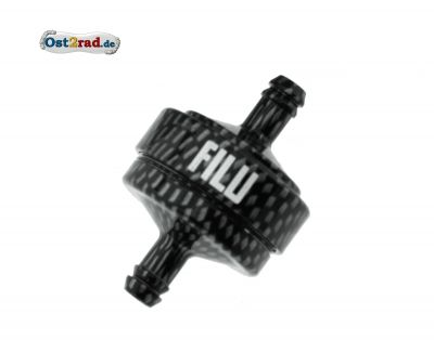 FILU Benzinfilter - Alu carbon eloxiert für Benzinschlauch 5x8,2mm