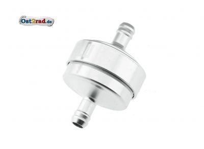 FILU Benzinfilter - Alu silber matt eloxiert für Benzinschlauch 5x8,2 mm