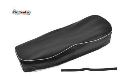 Housse de selle noire avec passepoil blanc ES 250/2  1ere version