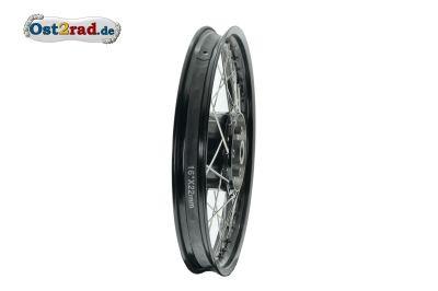 Speichenrad 1,5x16 Zoll Felge SCHWARZ Speichen EDELSTAHL + Tuning-Radnabe schwarz