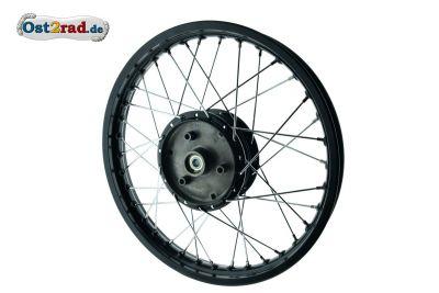 Speichenrad schwarz - Chrom passend für Simson S51 Schwalbe 16 Zoll
