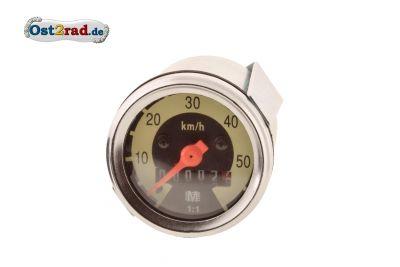 Tachometer 48 mm 60 km/h-Version Skale schwarz/ hellelfenbein KR50 SR1 SR2 - gewölbtes Glas
