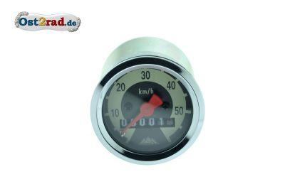 Tachometer 48 mm 60 km/h-Version Skale schwarz/ hellelfenbein KR50 SR1 SR2 - flaches Glas