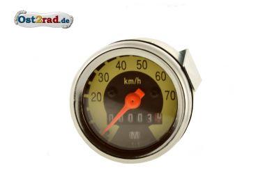Tachometer 80km/h-Version Skale schwarz- hellelfenbein KR50 Spatz SR2 - gewölbtes Glas 48mm