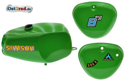 Büffeltank Set mit Seitendeckel für Simson S50 S51, Gelbgrün, innen versiegelt