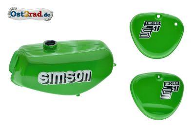 Tank Set mit Seitendeckel S51E ENDURO Gelbgrün versiegelt mit Aufkleber Simson