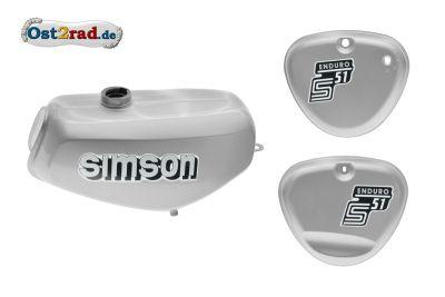 Tank Set mit Seitendeckel S51E ENDURO Silber versiegelt mit Aufkleber Simson